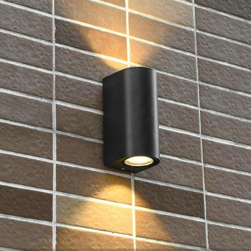 2 * 7W černé skořápky COB dvojité nástěnné svítilny led nástěnné svítí dolů venkovní IP65 vodotěsné AC110V 220V 3letá záruka