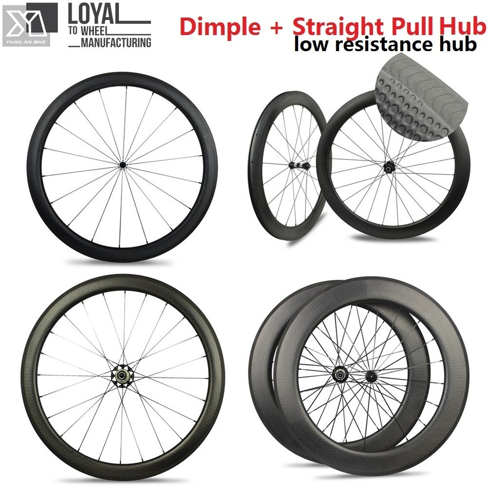 700C Low Resistance Wheel Dimple Carbon Road Bike Wheelsets Tubular / Clincher 45mm 50mm 58mm 80mm With Straight Pull Hub кольцо s j063 wedding band ring