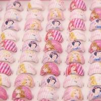 Mode-sieraden Groothandel Gemengde Veel 100 Stks Cartoon Prinses Kinderen Kids Meisje Sneeuwwitje Ronde Ringen