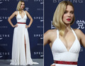 2017 Red Carpet SEYDOUX White Slit Sexy Halter Ruched Chiffon Sexy Long robe de soiree Celebrity Dresses Prom Gowns Custom Made