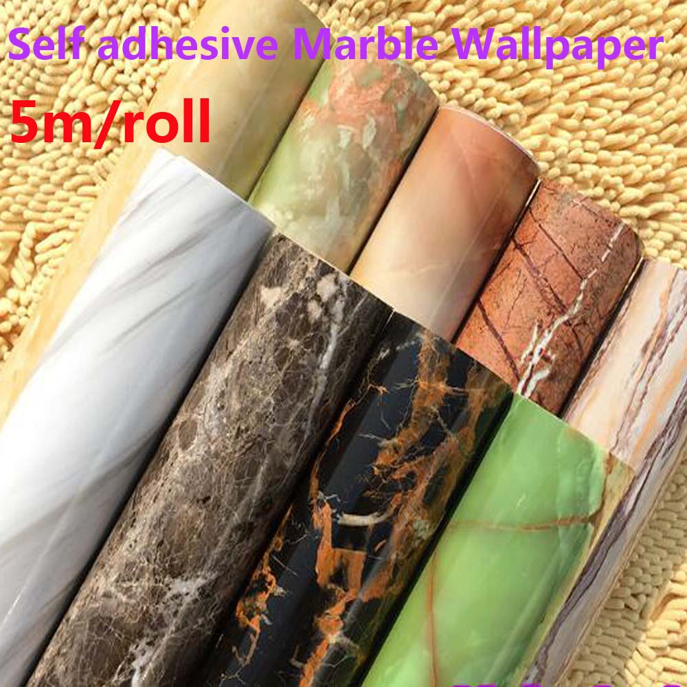 Self-adhesive Wallpapers PVC Marble Vinyl Wallpaper Furniture Kitchen Table film Green Waterproof Self Adhesive Wall Paper high grade pvc boeing film furniture sticker paint film self adhesive waterproof adhesive paper wallpaper wallpaper 255z