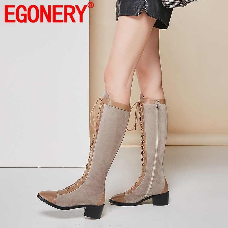 EGONERY أزياء النساء الشتاء الدانتيل يصل الركبة طول الأحذية 5 سنتيمتر كعب زائد حجم الجانب سستة أحذية السيدات جلدية اللباس مكتب الجوارب
