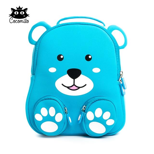 689af0b2cc17 Quality Waterproof 3D Bear Anti-lost School Bag Sky Blue Baby Backpack Zoo  Animal Toddler Bag Boys Little Kids Kindergarten Bag
