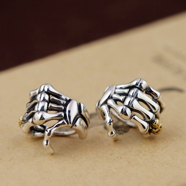ORIGINAL 925 STERLING SILVER SKULL HAND EARRINGS