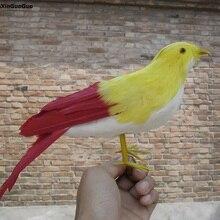Большой 30 см Моделирование Птица модель полиэтилен и перья желтый и красный птица ручной работы, украшения сада s1128