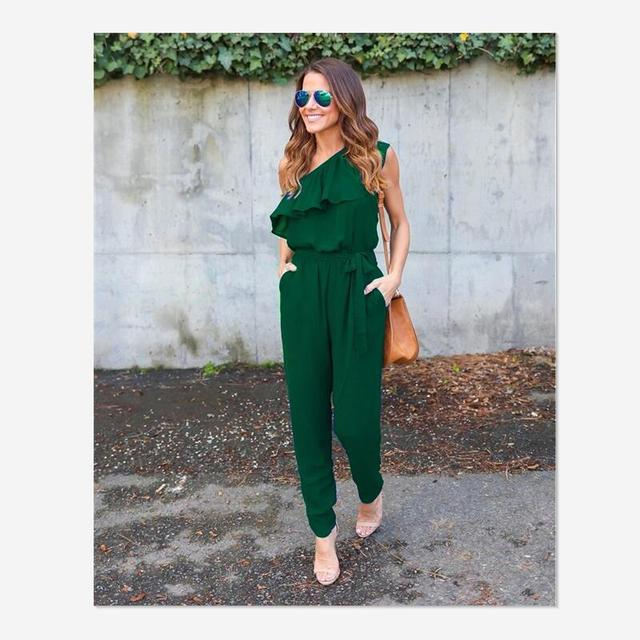 2018 summer Chiffon skinny solid jumpsuits irregular ruffles Bow tie belt jumpsuits office lady women jumpsuits