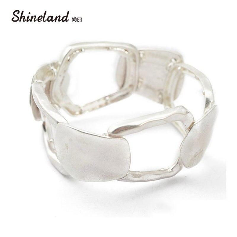 Shineland 2018 New Shiny Silver color Hollow Out Statement Alloy Cuff Bangle For Women/Men Adjustable Fashion Bracelet все цены