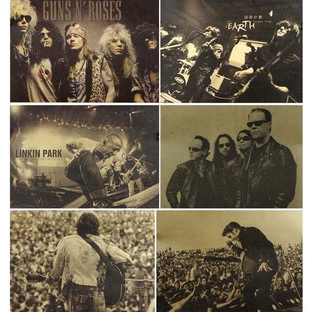 Carteles Vintage banda de Rock Retro cartel impresiones de pared para sala de pintura decorativa café Kraft pegatinas de papel para pared