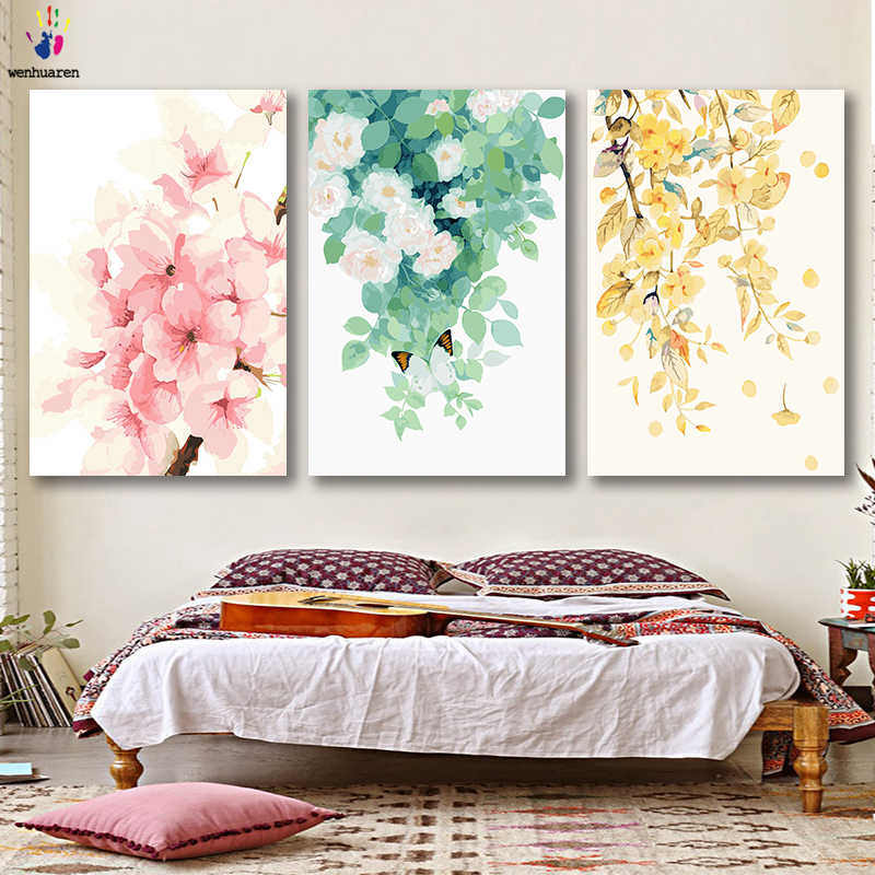 DIY colorings pictures by numbers with colors Four season plants watercolor picture drawing painting by numbers framed Home