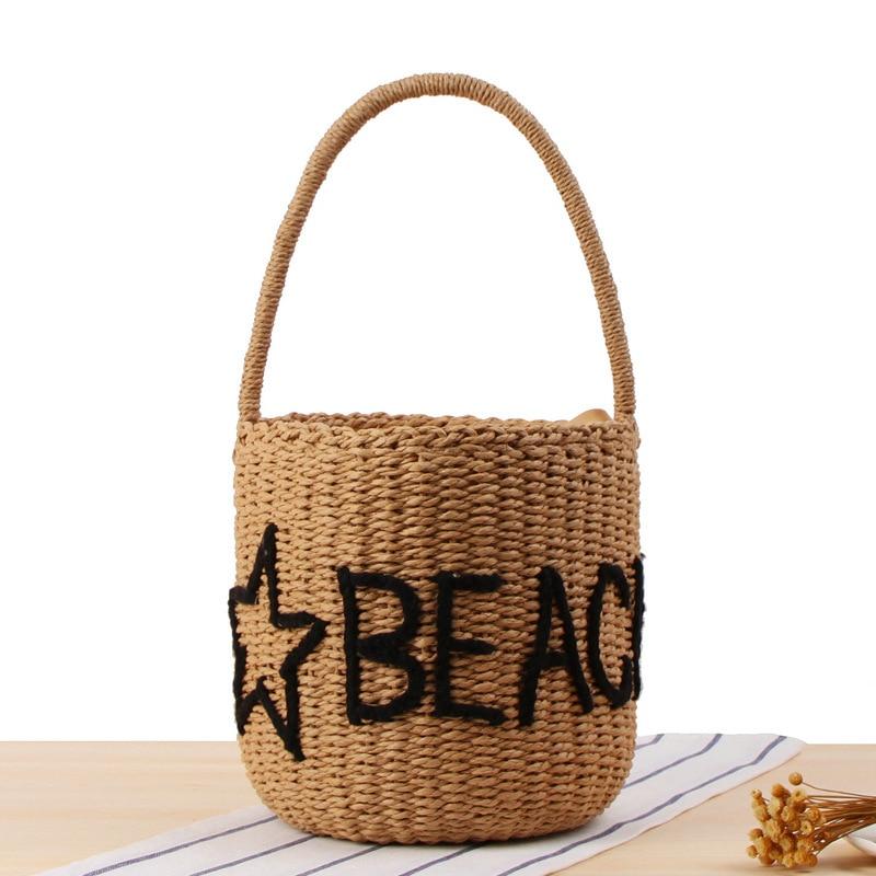 2018 Fashion Star Letter Appliques Women Shoulder Bag Casual Straw Beach Bag New Design Girls Travel Shopping Bag