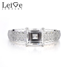 Leige Jewelry Natural White Topaz Ring Proposal Ring November Birthstone Square Cut Gemstone 925 Sterling Silver Gifts for Women