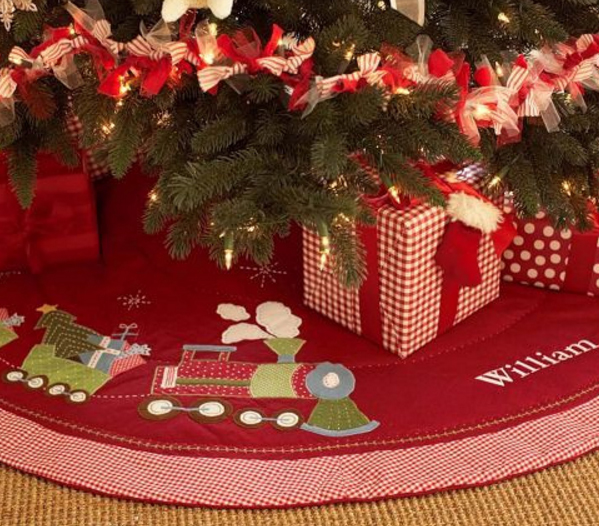 Personalized christmas tree skirt train cotton tree skirt for Decoration names for christmas