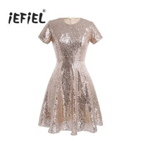 Brand New Women Ladies O Neck A Line Short Sleeve Shiny Sequins Office Club Party Dresses