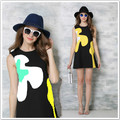 Moda vestido 2016 Color Block Patchwork Mini vestido para meninas vestidos de festa sem mangas tanque vestido S-XL vestidos D6520
