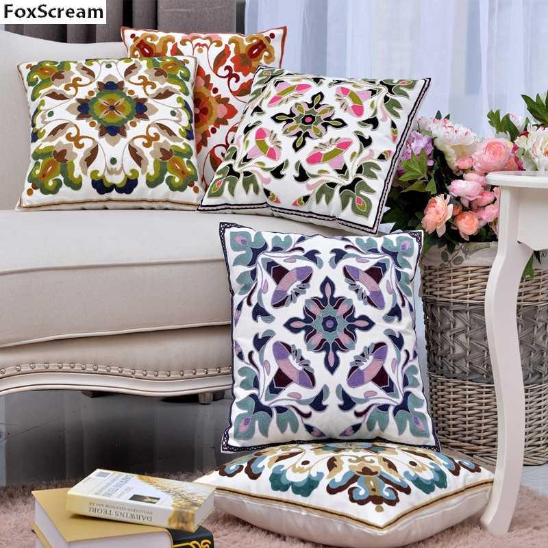 Вышитые подушки охватывает вышивка декоративные подушки случаях Синий  геометрический цветок Чехлы домашнего декора для диван 45x45 9a48087051c39