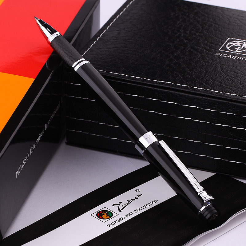 Pimio 917 Luxury Black and Silver Clip Roller Ball Pen with 0.7mm Black Ink Refill with Original Gift Box Ballpoint Gift Pens цены онлайн