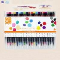 Nara pintados a mano fabricante de 20 color de la pintura conjunto pincel de acuarela pluma cepillo suave pluma de la Marca de color