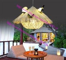 Современный птичье гнездо дом ресторан подвеска свет, Естественный цвет древесины Подвесной светильник Домашнего освещения Сада украшения 3D G4 птиц