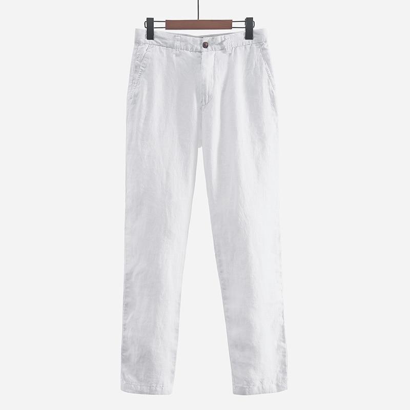 ccaec6c991ab Японский стиль простые мужские льняные повседневные брюки свободные дышащие  прямые 100% льняные брюки мужские весенние
