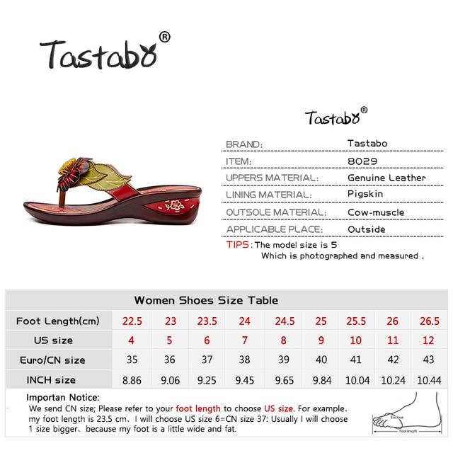 Tastabo Brand Fashion Flip Flops Low Wedges Handmade Flower Slides Genuine Leather Slippers For Women Outdoor Slippers Shoes