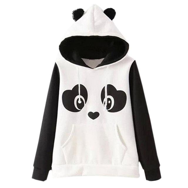 Woman Girls Cute hoodies Europe Hippie Kawaii Hoodies Panda Cartoon Printed Sweatshirts With Ears Hoody 2017