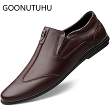 2019 new fashion men's shoes casual genuine leather loafers male brown & black slip on shoe man driving shoes for men size 37-45 цена