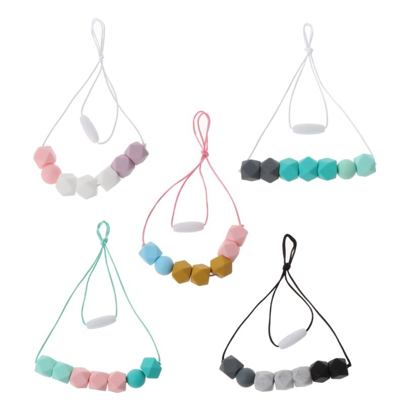 BPA Free Silicone Beads DIY Baby Teether Necklace Chewable Teething Tooth Care