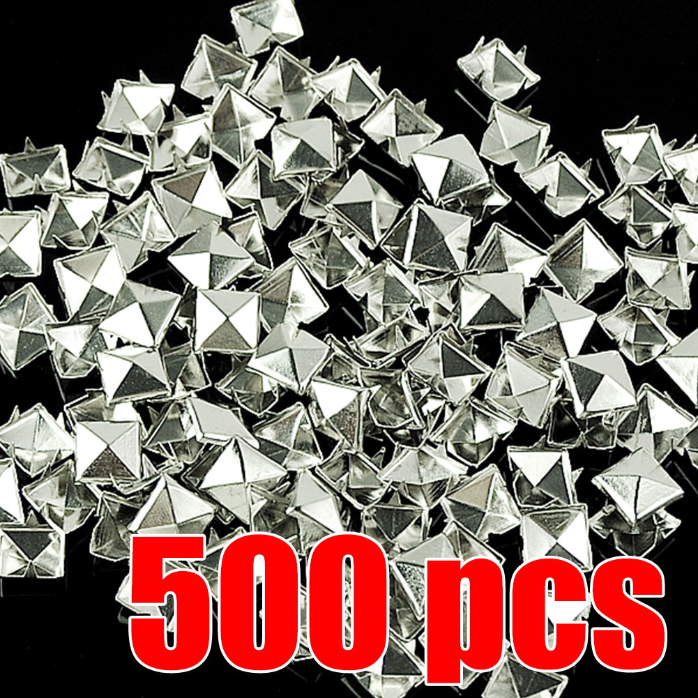 WITUSE NEW! 500PCS 10mm Pyramid Studs Rivets Spike Punk Rock Cone DIY Spike Craft Garment for Leather Clothes Bags Shoes Belt