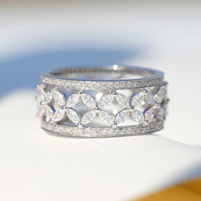 Vecalon forma de flor 925 prata esterlina anel de promessa aaaaa cz noivado casamento anéis de banda para mulher nupcial dedo jóias