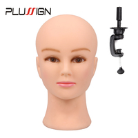 Plussign Female Mannequin Head Bald With Table Clamp Best Professional Manikin Head For Wig Making Hat