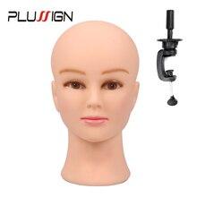 """Plussign kadın manken başkanı kel masa kelepçesi ile profesyonel manken kafa peruk yapımı için şapka ekran makyaj uygulaması 19  21"""""""