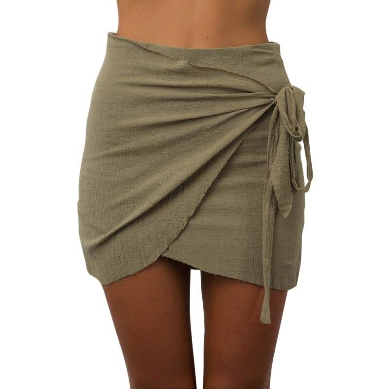 307e87a18e Tie up Beach Short Skirts Women Irregular High Waist Skirts .