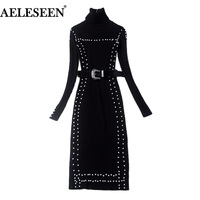 AELESEE Female Luxury Bodycon Dresses long Sleeve 2018 New Pearls Kinitted Black Dress Runway Sheath Turtleneck Sexy Dress