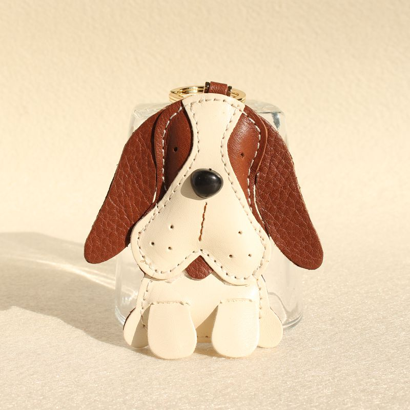 Handmade Cute Puppy Genuine Real Leather Dog Keychain For Keys Animal Car Key Chain Key Ring Women Bag Pendant Charm Accessories