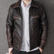 HARLEY DAMSON Vintage Brown Men Casual Leather Jacket Plus S