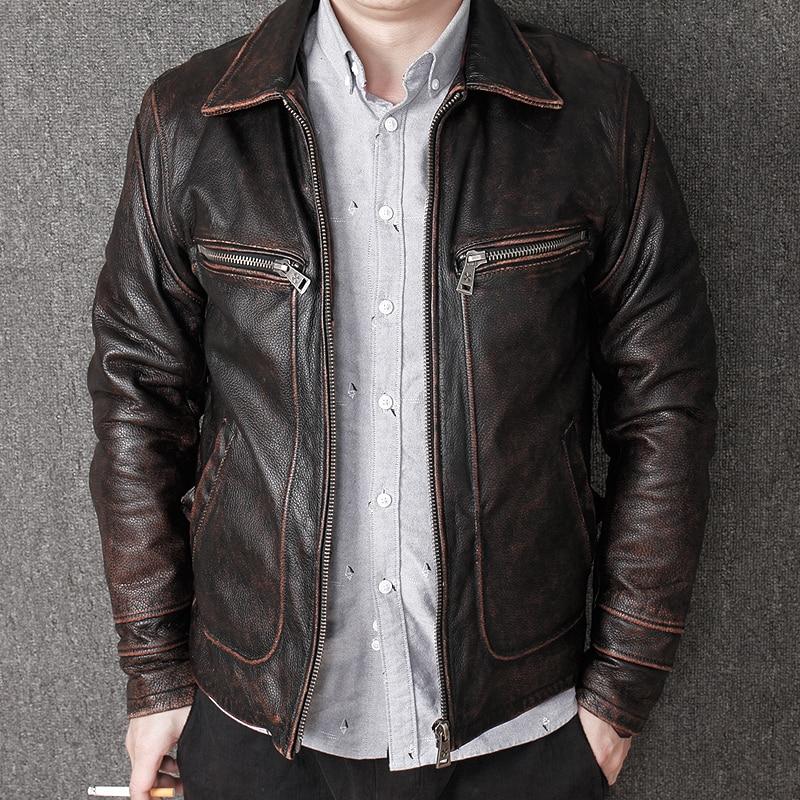 Brun Hommes Décontracté Taille Épaisse Quetsche Xxxl Grande Harley D'hiver Manteau Slim Russe Vintage Fit Vachette Cuir Véritable Veste En WCBdxeor