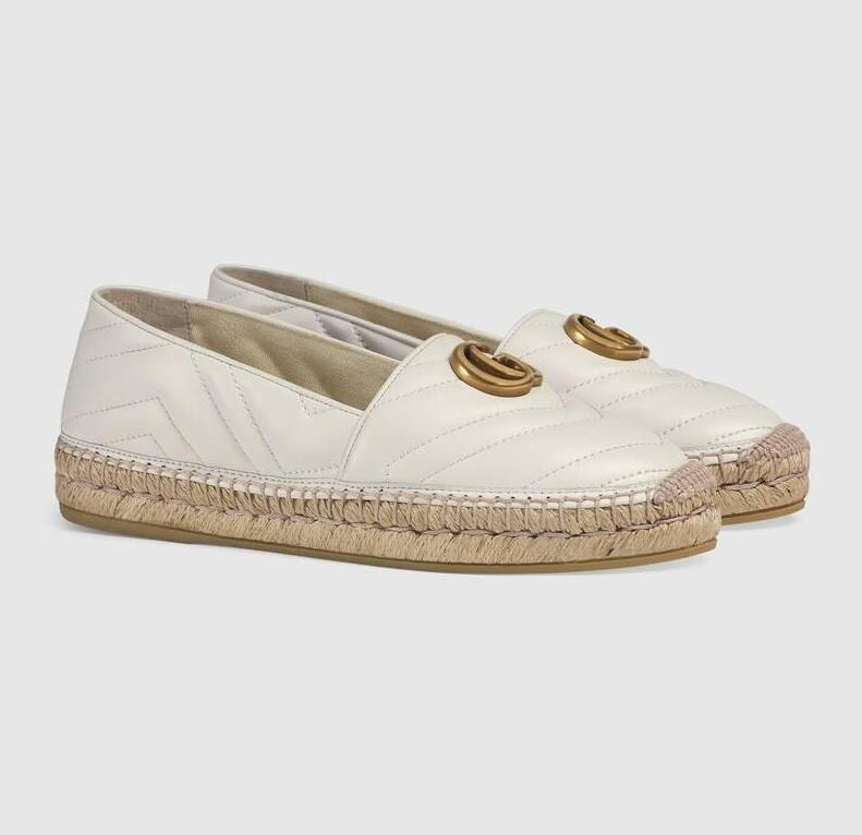 Chaussures de pêcheur début du printemps mocassins en cuir Espadrille appartements avec des semelles de tissage de paille chaussures de pêcheur décontracté femmes sans lacet