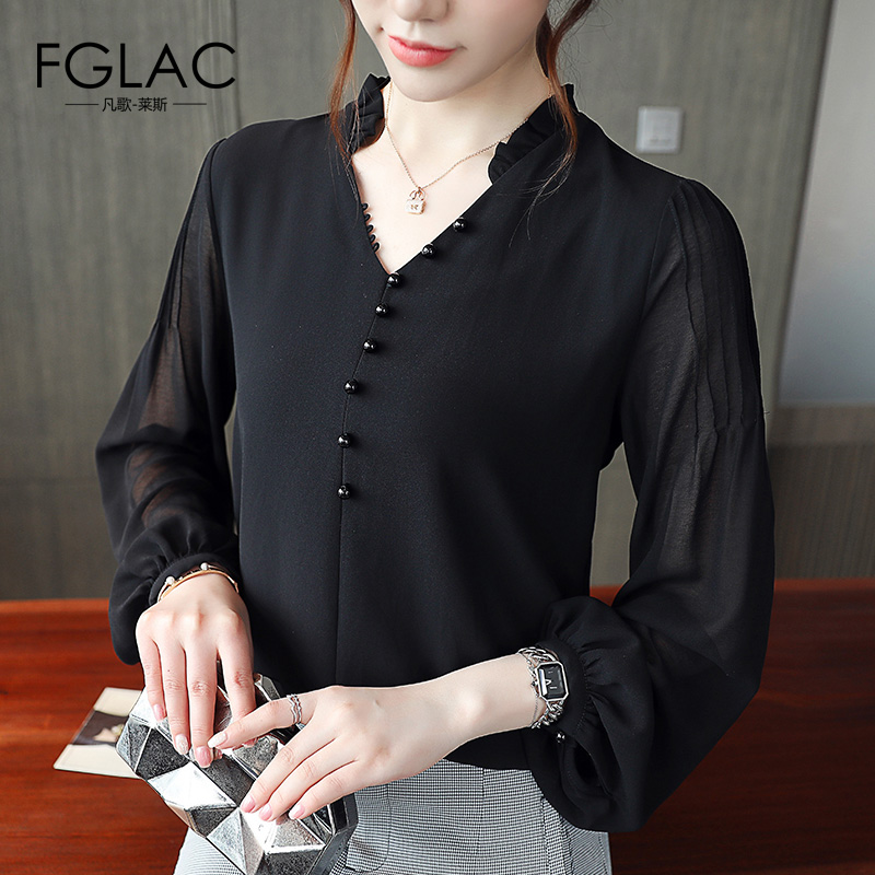 FGLAC New 2018 Autumn Long sleeve   blouse   Women Fashion Casual black Chiffon   blouse     shirt   Elegant Office work women tops blusas