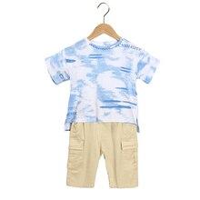 Kids Clothes Sets Short Sleeve Boy T Shirt+ short pant 2 Pc Suit Children Suits  Cotton pant   Summer 4-7 Ages Green Blue цена
