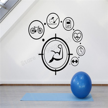 Wall Art Sticker Healthy Lifestyle Modern Life Room Mural Vinyl Removeable Poster Gym Fitness Decal Beauty Sports LY429