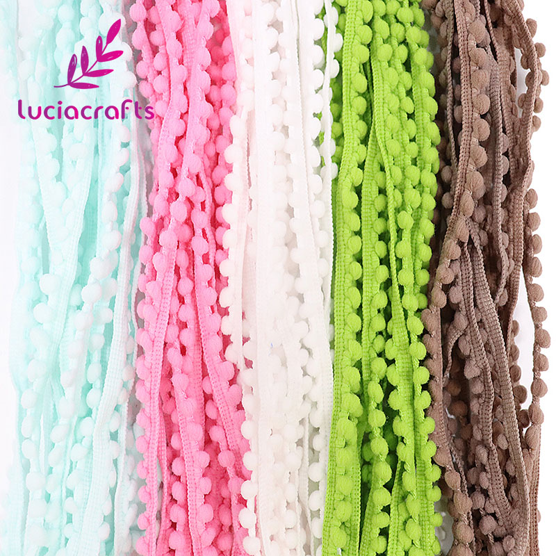 Lucia crafts 2yards/lot 10mm Pom Pom Trim Ball Braid Lace Fringe Ribbons Fabric DIY Sewing Handmade Accessory 17011001(10D2y) embroidered tape and pom pom trim halter top