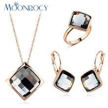 MOONROCY новое розовое золото цвет дропшиппинг модное ожерелье с кристаллом серьги и кольцо Ювелирные наборы для женщин девушки подарок