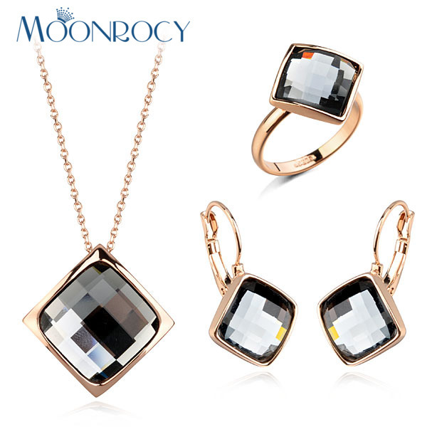 MOONROCY New Rose Gold Color Dropshipping Trendy Crystal Necklace Pendientes y Anillo Conjuntos de joyas para mujeres niñas Regalo