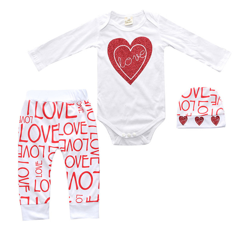 Valentine's Day Baby Girls Clothing Set Long Sleeve White Heart Bodysuit Harm Pants Hat 3pcs Toddler Kids Clothes Letter Print V-Day Baby Clothes (1)