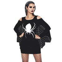 2018 Hot Women Halloween Costume Spider Dress New Low Neck Role Play Sexy Adult Seductress Mini Fancy Dress Black