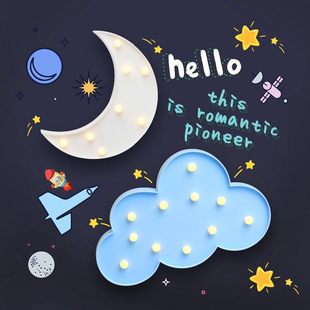 Star Moon Cloud Shaped Fairy Night Lights ABS Plastic LED Table Desk Lamp Room Atmosphere Wedding
