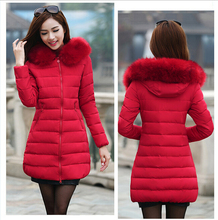 2017 Slim women cotton-padded jacket female medium-long plus size winter jacket women thickening outerwear fur collar women coat