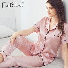 FallSweet נשים פיג מה סטי משי מוצק הלבשת פיג בתוספת גודל V צוואר Nigtwear סטי 5XL