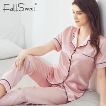 Fallsweet Bộ Đồ Ngủ Nữ Bộ Lụa Chắc Chắn Đồ Ngủ Pyjamas Plus Kích Thước Cổ V Nigtwear Bộ 5XL