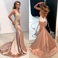 Sexy v образным вырезом спинки Русалка платья невесты 2018 бретельках Аппликации Длинные вечерние платья платье для выпускного вечера индивиду